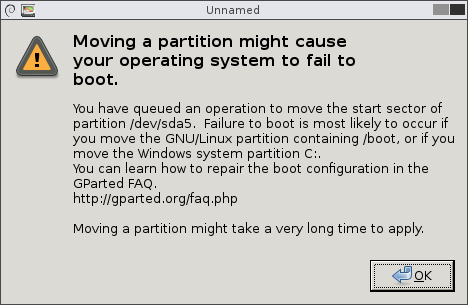 Moving partitions can cause your system to not boot