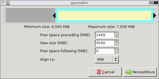 Resize/Move window with free space to the left of extended partition and logical partition fitting perfectly within the extended partition