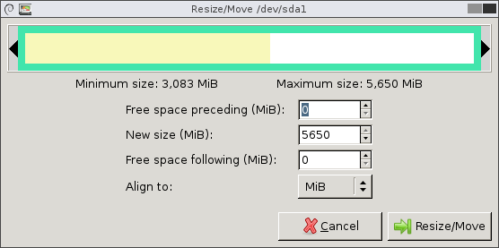 Resize/Move window with the partition taking up all of the space