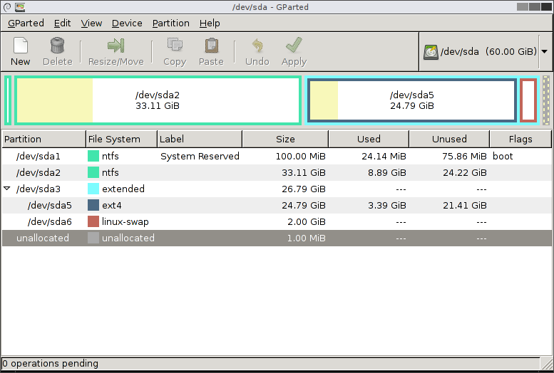 GParted main window displaying disk device partitions