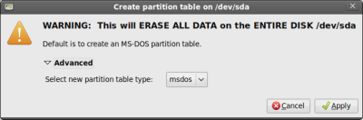Create partition table